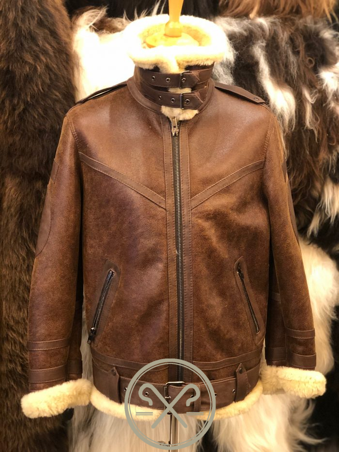 Aviator - Men's Sheepskin Flying Jacket with Single Collar