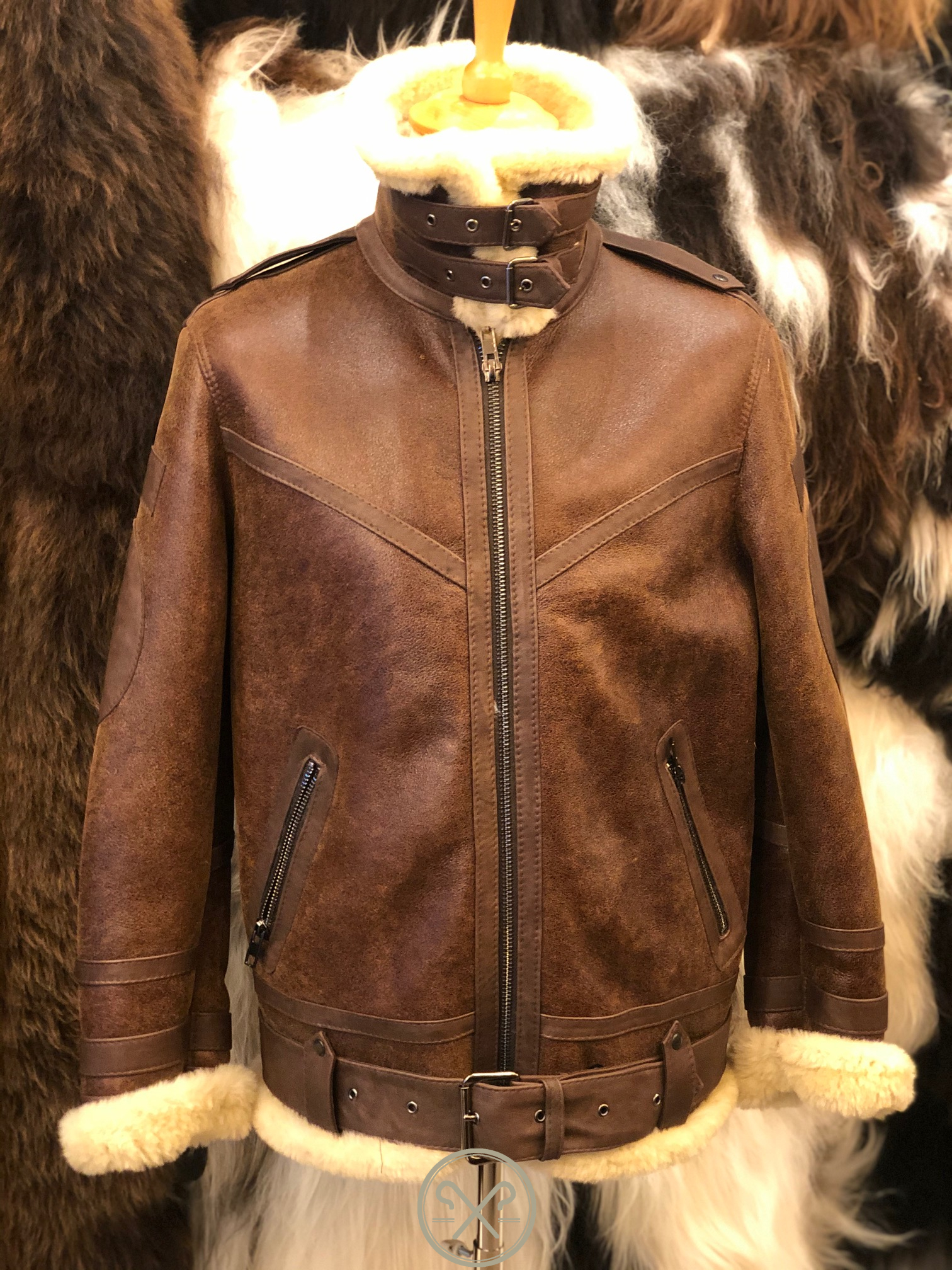 Aviator - Men's Sheepskin Flying Jacket with Single Collar