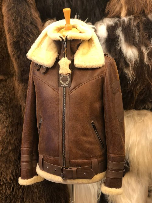 Sheepskin Flying Jacket with Detachable collar