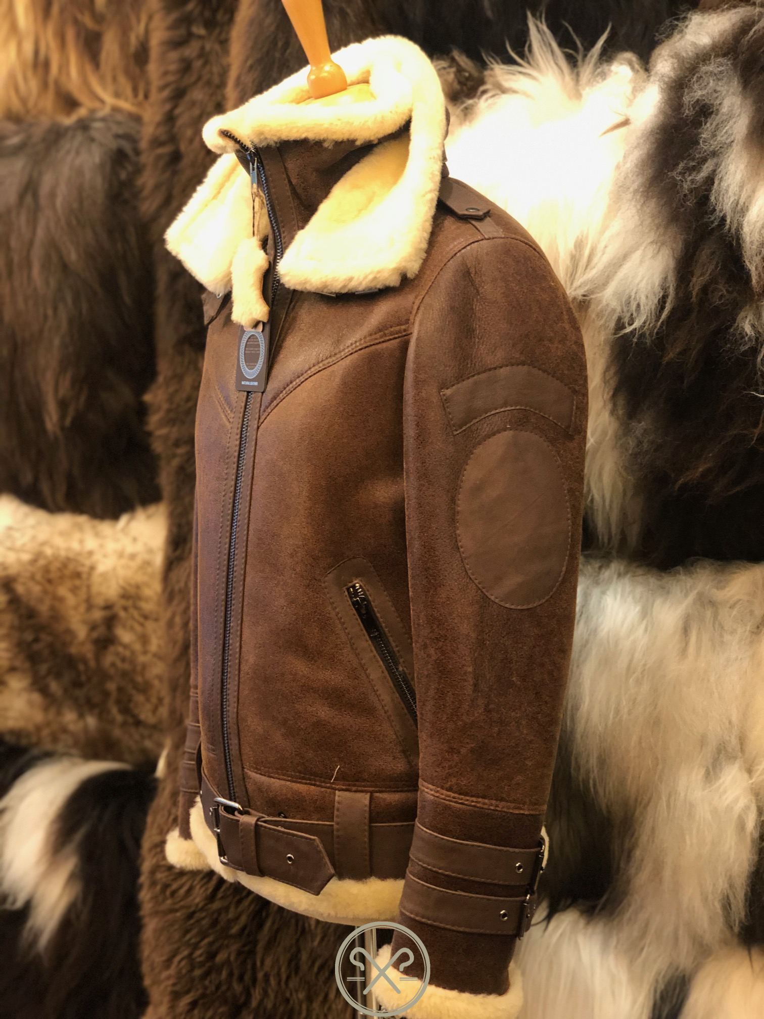 Aviator - Men's Sheepskin Flying Jacket with Double Collar