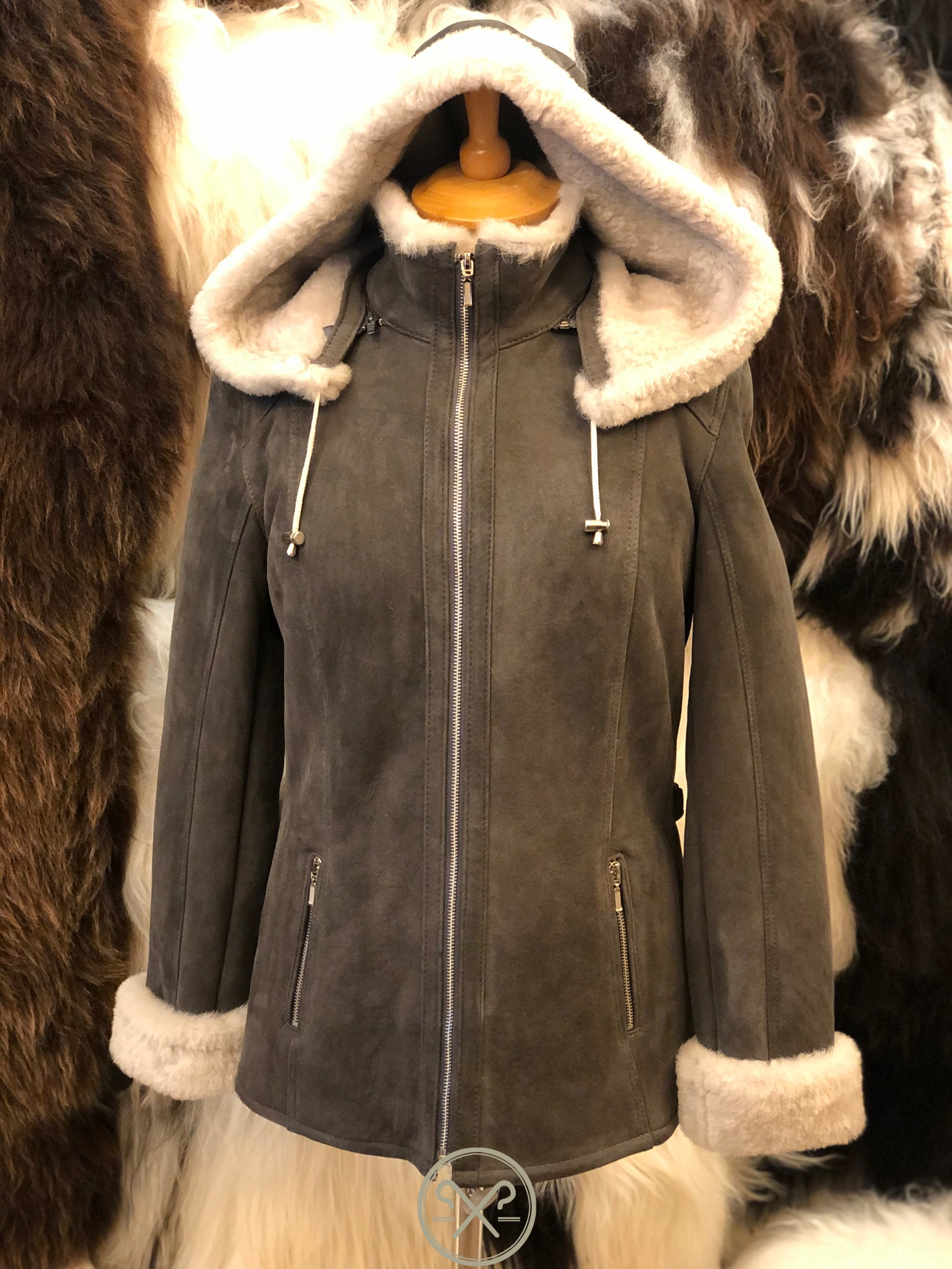 Luna a Ladies Grey and White Sheepskin Jacket with Detachable Hood