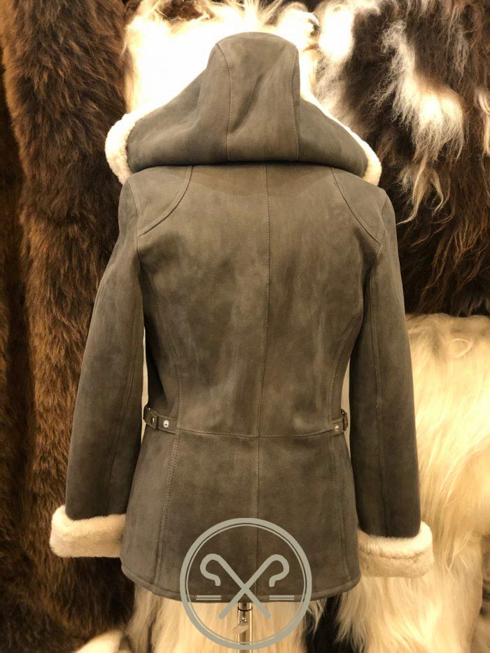 Luna a Ladies Grey and White Sheepskin Jacket with Detachable Hood