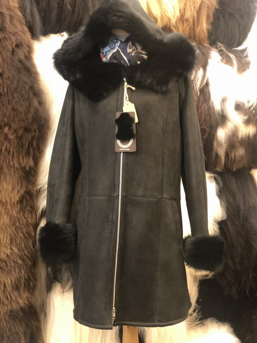 3/4 length ladies Sheepskin jacket with hood