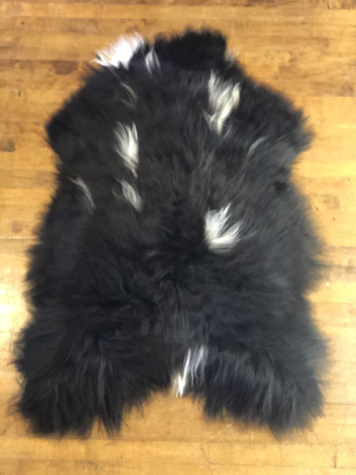 Icelandic Sheepskin Rug Natural Black and White Markings