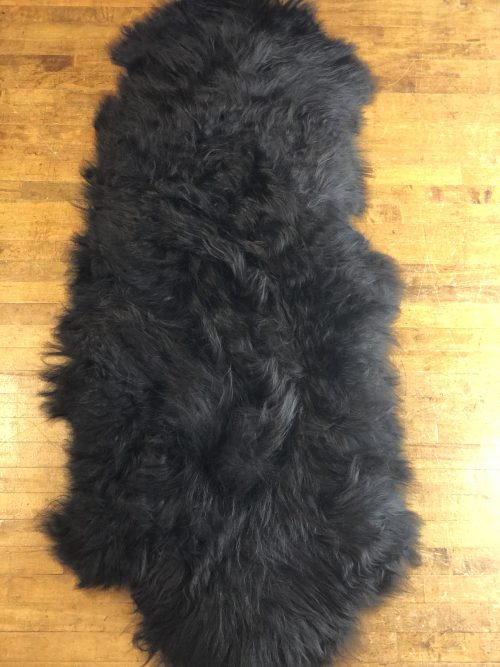 Natural Black Double Pelt Icelandic Sheepskin Rug.