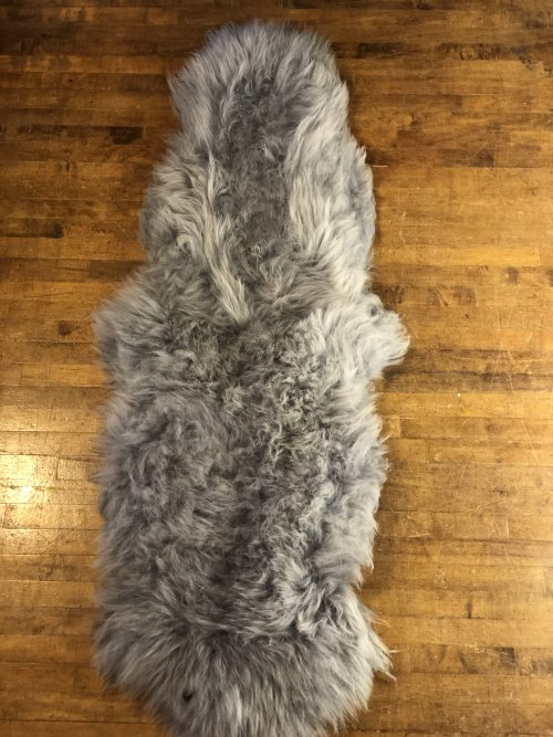 Double Pelt Grey Sheepskin Rug with Extra Deep Pile.