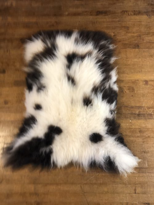 Natural, Organic, Rare Jacobs Sheepskin Rug with Mainly white Deep Pile with natural brown markings